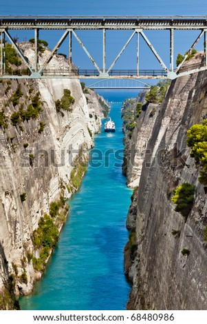 The Corinth Canal situated in Greece. Canal connects the Gulf of Corinth with the Saronic Gulf in the Aegean Sea. Famous attraction in Athens, Greece