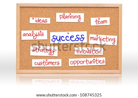 The cork board with Success planning on white background - stock photo