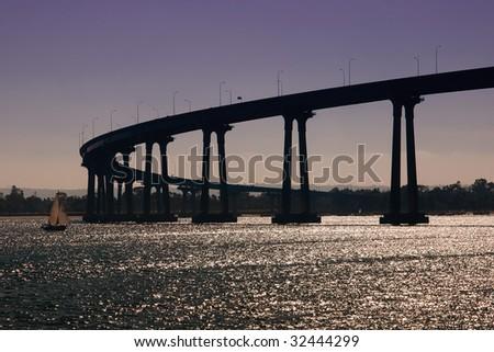 The Coronado Bay Bridge in San Diego, California - stock photo
