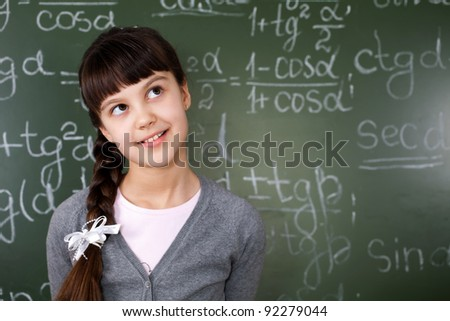 the correct solution to the problem in mathematics - stock photo