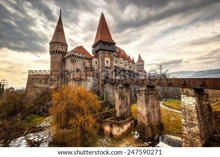 The Corvinesti castle also known as the Hunyad castle, is a Gothic-Renaissance castle in Hunedoara (Transylvania), Romania. - stock photo