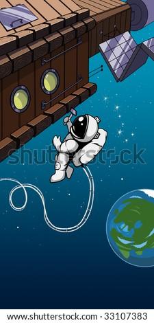 The cosmonaut near to station - stock photo