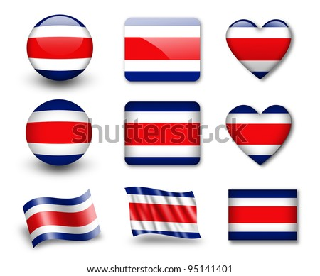 The Costa Rica flag - set of icons and flags. glossy and matte on a white background. - stock photo