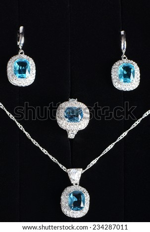 The costume jewellery. Pendant, earrings and ring - stock photo