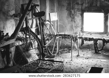 The country house attic abandoned objects - stock photo