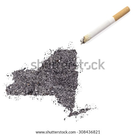 The country shape of New York made of tobacco ash and a cigarette.