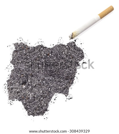 The country shape of Nigeria made of tobacco ash and a cigarette.(series)