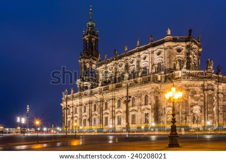 the court church of Dresden at nightfall