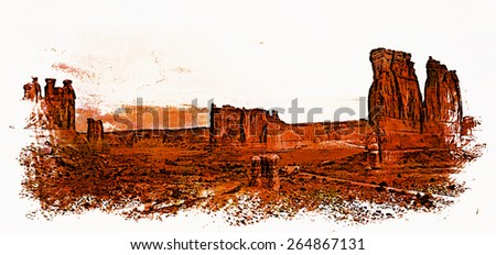 The Courthouse Wash area of Arches National Park, Utah. - stock photo