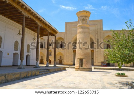 The courtyard and Minaret of the ancient architectural complex  Baha-ad-Din Naqshbandi, Bukhara, Uzbekistan, 16 century, UNESCO World Heritage Site