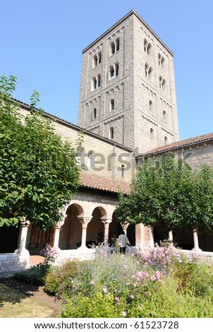The courtyard in The Cloisters of New York City. - stock photo