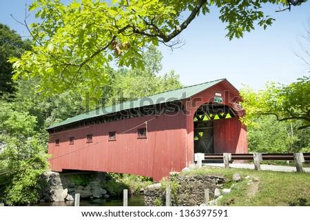 The covered bridge in West Arlington, Vermont - stock photo