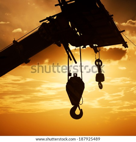 The crane hook silhouette - stock photo