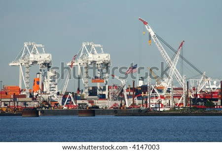 The cranes at a port in New York Harbor