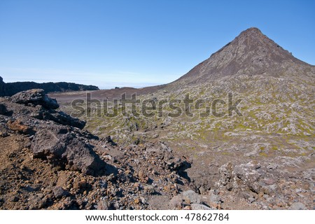 The crater of Pico Mountain in Pico Island - Azores - Atlantic ocean - Europe - Portugal - stock photo