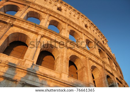 The crimson Colosseum, place of bloody hand-to-hand fight?of the Roman gladiators. Rome, Italy.