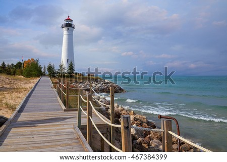 The Crisp Point Lighthouse and boardwalk as it overlooks Lake Superior on a lazy autumn afternoon, Michigan, Upper Peninsula, USA: A one hour drive from Tahquamenon Falls, mostly dirt roads