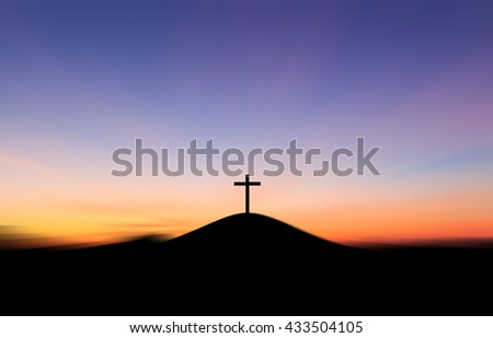 The cross on the hilltop After the Sunset