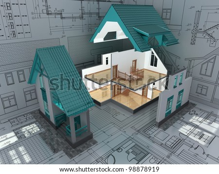 The cross-section of residential house on architect drawing. 3D image. - stock photo