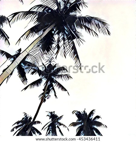The crown of palms on white sky background. Digital illustration in sketching style. Square image for wedding or paper design. Tropical summer sketch with palm silhouettes. Natural landscape