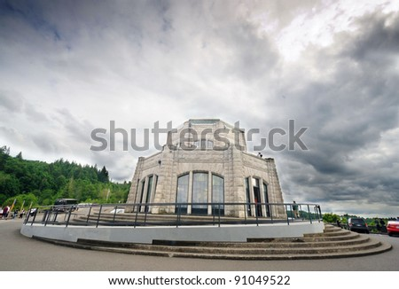 The crown Vista Point at Columbia River George on a cloudy day - stock photo