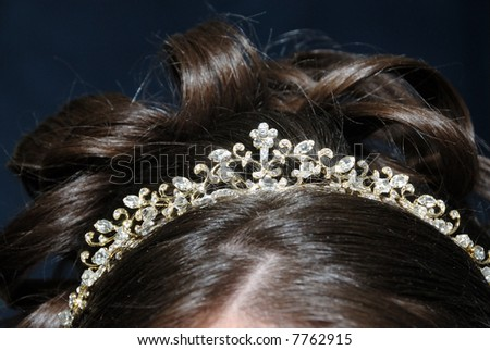 The Crowning Touch - A tiara of crystals and rhinestones in the bride's hair.  Note: Shallow depth of field with clear focus on the center of the tiara.
