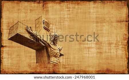 The Crucifixion of Jesus on parchment, horizontal orientation. - stock photo