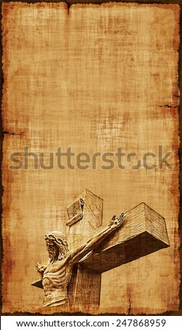 The Crucifixtion of Jesus on parchment, vertical orientaton. - stock photo