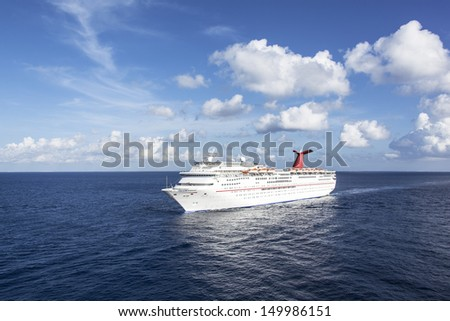 The cruise liner arriving to Cozumel island, Mexico. - stock photo