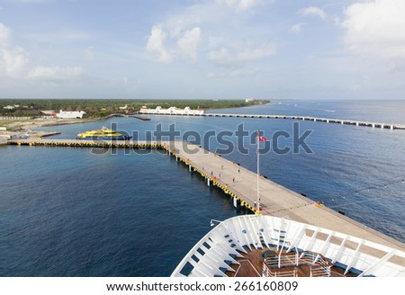 The cruise liner docked in Cozumel island (Mexico). - stock photo