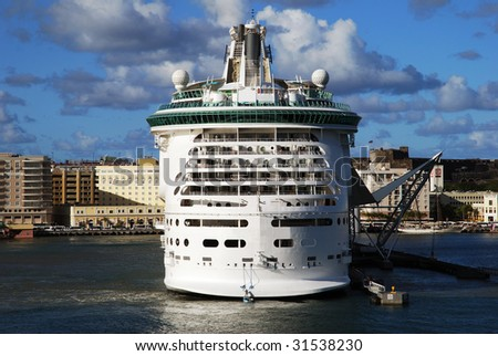 The cruise liner docked in San Juan, the capital of Puerto Rico. - stock photo