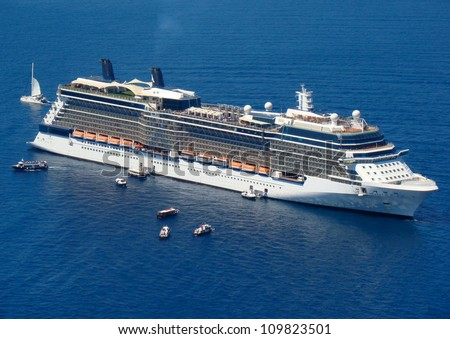 The cruise ship anchored in the Mediterranean - stock photo