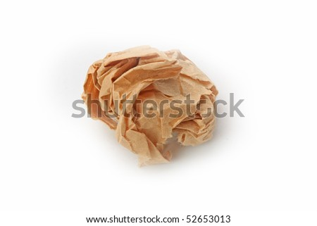 The crumpled paper isolated on white background