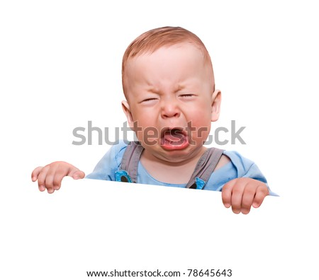 The crying boy, on  white background, with empty place for your text