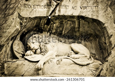 The Crying Lion Memorial, Luzern [Sepia effect] - stock photo