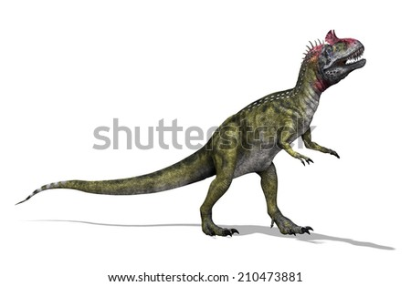 The Cryolophosaurus was a dinosaur that lived during the Early Jurassic period. - stock photo