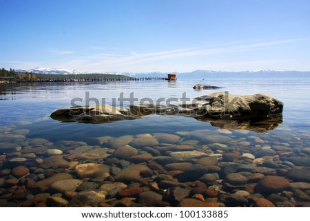 The crystal clear waters of Lake Tahoe near Tahoe City. - stock photo