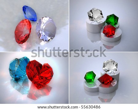 The crystals. Set 3D images a gems. - stock photo