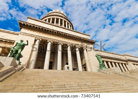The cuban Capitol in Havana, with its majestic stairway, in a beautiful summer day - stock photo