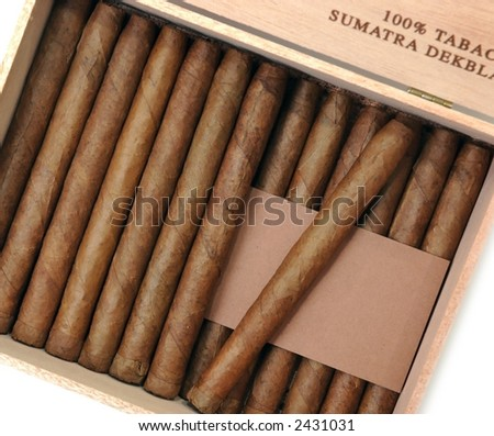 the Cuban cigars are in a box - stock photo