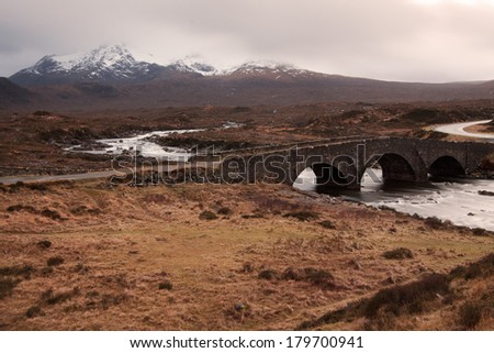 The Cuillins, Isle of Skye seen from Sligachan - stock photo