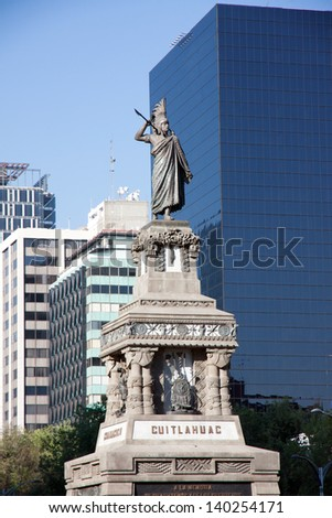 The Cuitlahuac monument in the Grand Passeo, Mexico City - stock photo