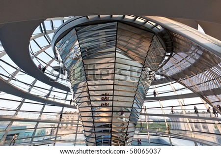 The Cupola on top of the Reichstag building in Berlin - stock photo