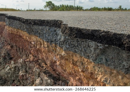 The curb erosion from storms. To indicate the layers of soil and rock. - stock photo