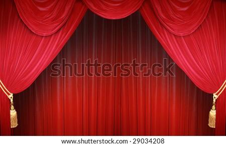 the curtain falls - stock photo