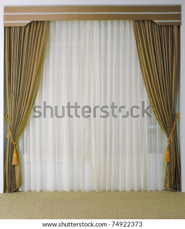 The curtain with blank space need your decoration stuffs to putting in - stock photo