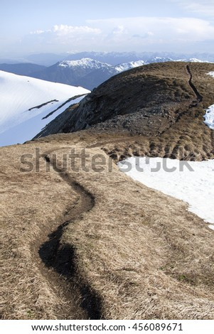 The curved path on a top of Mount Roberts 3,819 foot (1,164 m) above sea level (Juneau, Alaska).
