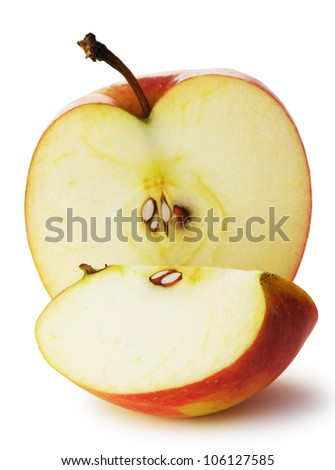 The cut apple. A detailed photo of fruit on a white background - stock photo