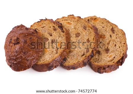 The cut bread isolated on white background