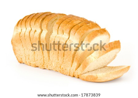 The cut bread on a white background - stock photo